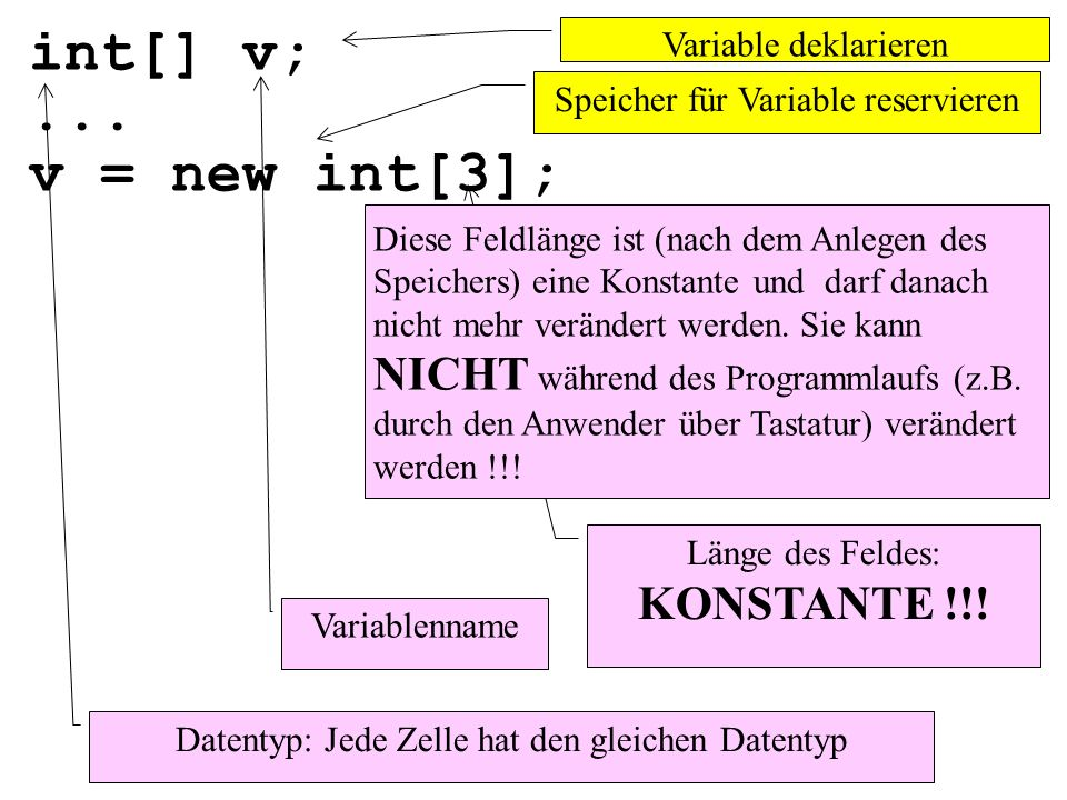int[] v; ... v = new int[3]; Variable deklarieren